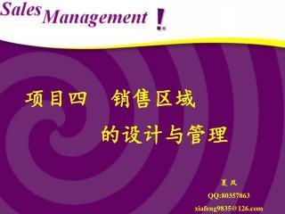 项目四  销售区域        的设计与管理
