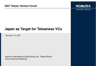 Japan as Target for Taiwanese VCs