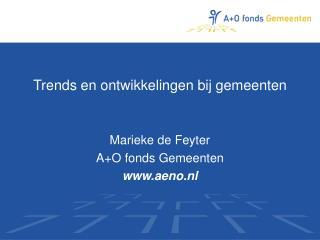 Trends en ontwikkelingen bij gemeenten Marieke de Feyter  A+O fonds Gemeenten aeno.nl