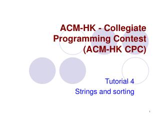 ACM-HK -  Collegiate Programming Contest  (ACM-HK CPC)