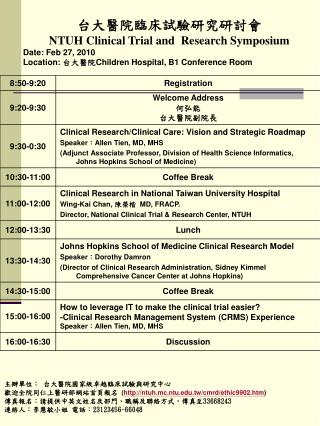 台大醫院臨床試驗研究研討會 NTUH Clinical Trial and  Research Symposium Date: Feb 27, 2010