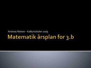 Matematik årsplan for 3.b
