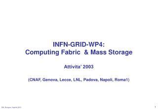 INFN-GRID-WP4: Computing Fabric  & Mass Storage Attivita' 2003