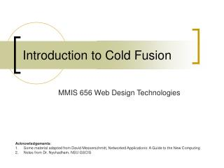 Introduction to Cold Fusion