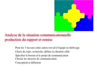 Analyse de la situation communicationnelle  production du rapport et remise