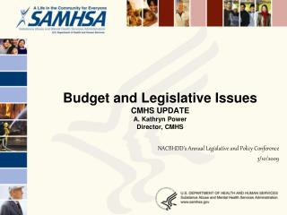 Budget and Legislative Issues  CMHS UPDATE A. Kathryn Power Director, CMHS