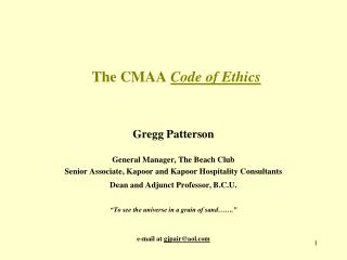 The CMAA  Code of Ethics