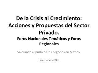 Valorando el pulso de los negocios en México. Enero de 2009.