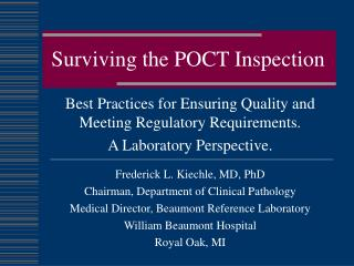 Surviving the POCT Inspection