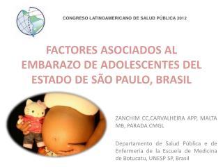 FACTORES ASOCIADOS AL EMBARAZO DE ADOLESCENTES DEL ESTADO DE SÃO PAULO, BRASIL