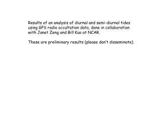 Results of an analysis of diurnal and semi-diurnal tides