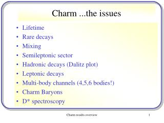 Charm ...the issues