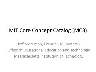 MIT Core Concept Catalog (MC3)