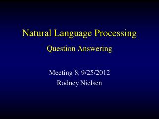 Natural Language Processing Question Answering