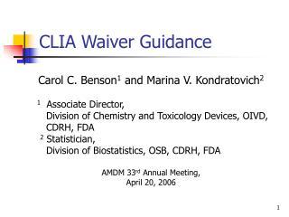 CLIA Waiver Guidance
