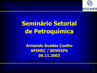 Seminário Setorial de Petroquímica Armando Guedes Coelho APIMEC / BOVESPA 06.11.2003