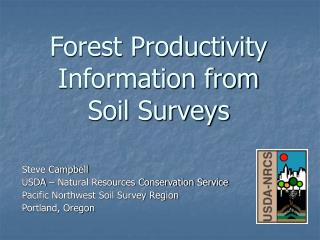 Forest Productivity Information from  Soil Surveys