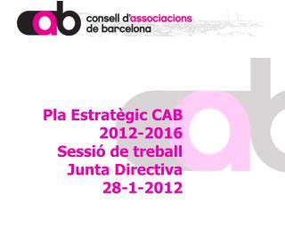 Pla Estratègic CAB  2012-2016 Sessió de treball  Junta Directiva 28-1-2012