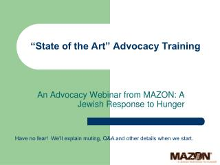 """State of the Art"" Advocacy Training"