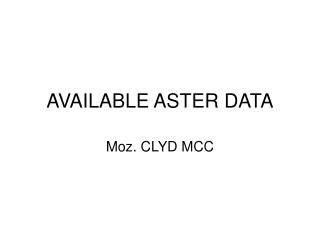 AVAILABLE ASTER DATA