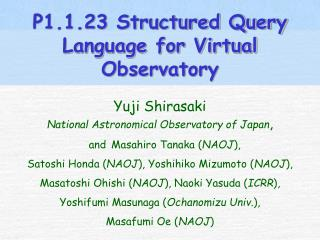 P1.1.23 Structured Query Language for Virtual Observatory