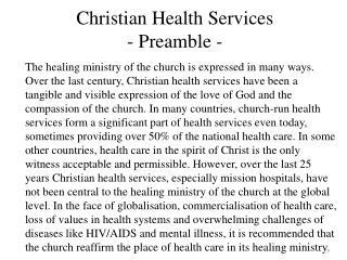 Christian Health Services - Preamble -