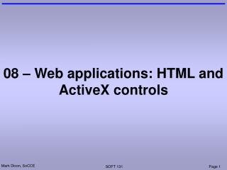 08 – Web applications: HTML and ActiveX controls