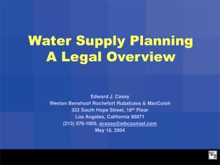 Water Supply Planning A Legal Overview