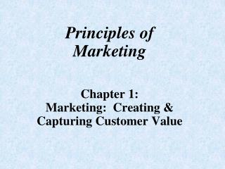 Principles of Marketing Chapter 1: Marketing:  Creating & Capturing Customer Value