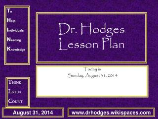 Dr. Hodges Lesson Plan