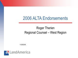 2006 ALTA Endorsements