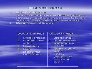 SOCIAL DIFFERENTIATION