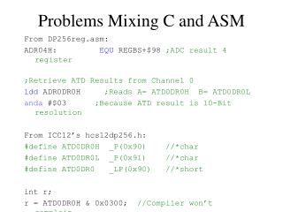 Problems Mixing C and ASM