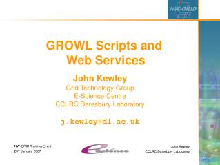 GROWL Scripts and  Web Services