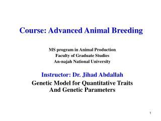 Course: Advanced Animal Breeding