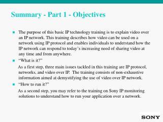 Summary - Part 1 - Objectives