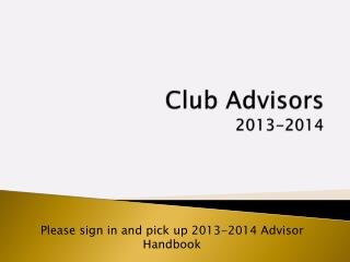 Club Advisors 2013-2014