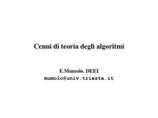 Cenni di teoria degli algoritmi