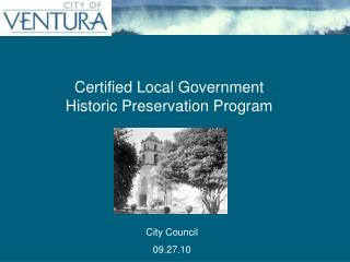 Certified Local Government Historic Preservation Program