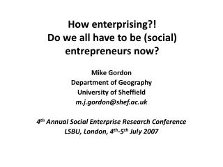 How enterprising?! Do we all have to be (social) entrepreneurs now?
