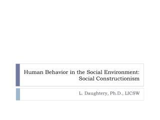 Human Behavior in the Social Environment: Social Constructionism