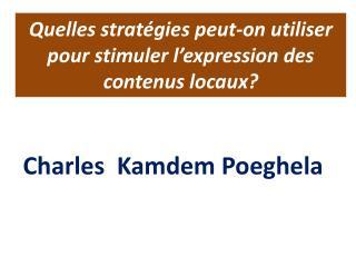 Quelles  stratégies peut-on utiliser pour stimuler l'expression des contenus locaux?