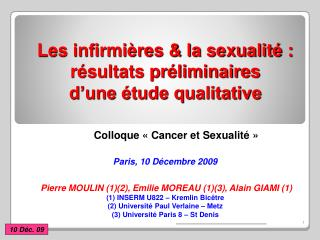 Les infirmières & la sexualité : résultats préliminaires  d'une étude qualitative