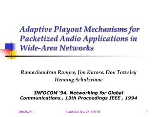 Adaptive Playout Mechanisms for Packetized Audio Applications in Wide-Area Networks