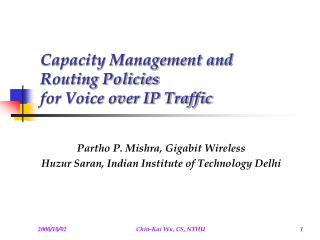 Capacity Management and Routing Policies for Voice over IP Traffic