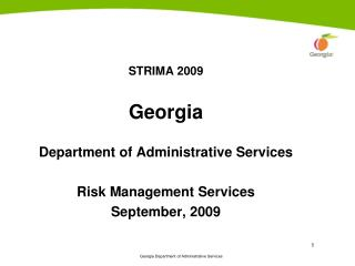 STRIMA 2009 Georgia Department of Administrative Services Risk Management Services September, 2009