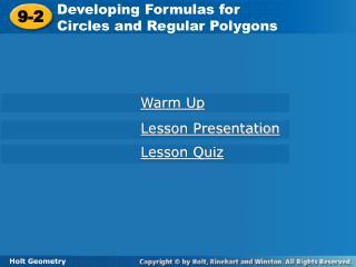 Developing Formulas for  Circles and Regular Polygons