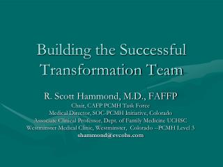 Building the Successful Transformation Team