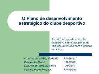 O Plano de desenvolvimento estratégico do clube desportivo