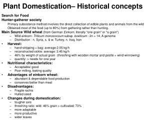 Plant Domestication– Historical concepts